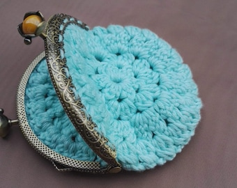 Bamboo Aqua Blue, Crochet coin purse, with vintage clasp