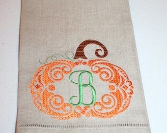 Pumpkin Embroidered Hand Towel, Fall Harvest Hand Towel, Thanksgiving Monogrammed Hand Towel, Natural Linen Hand Towel