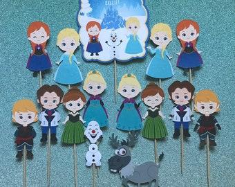 Frozen cupcake toppers, Frozen toppers, Frozen party, Disney princess party, princess party, Frozen theme, Elsa, Anna, Olaf