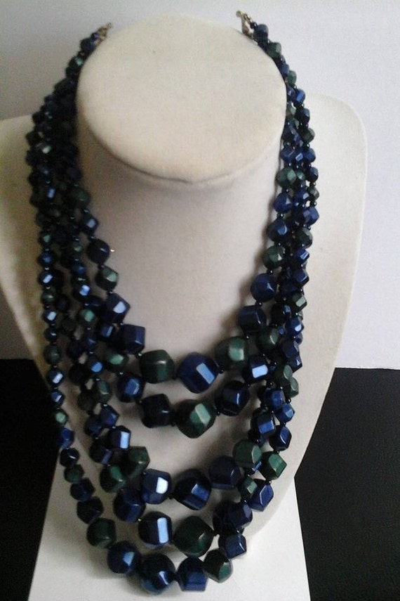 Vintage Beaded 5 Strand Necklace, Blue Beaded Statement Necklace, Knotted, Beaded Necklace, Vintage Beaded Necklace, Vintage Beads