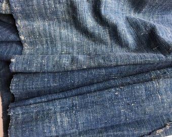 Last Piece! -c.1900 Antique Japanese Boro Indigo Cotton Fabric Blue White - 106-B8