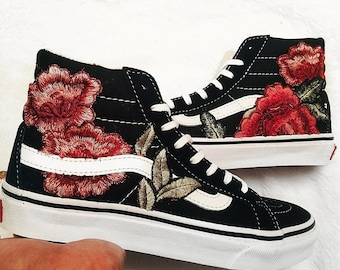 Unisex Checkered Slip On Custom Rose Floral Embroidered Patch