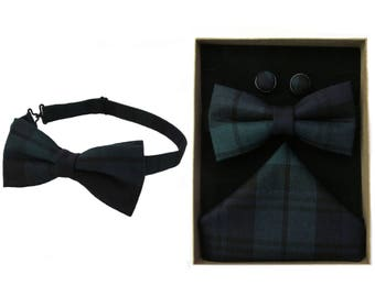Pure Wool Black Watch Tartan Bow Tie & Boxed Gift Set