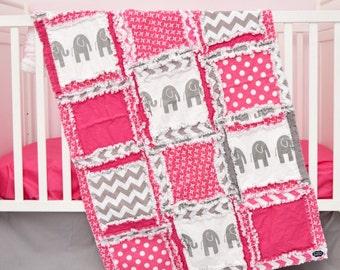 Elephant Crib Bedding- Gray / Hot Pink Bedding Crib Set- Jungle Bedding- Safari Baby Bedding- Whimsical Nursery- Rag Blanket / Sheet / Skirt