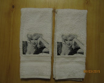 New 2 Photo Stitched Marilyn Monroe White  Hand Towels