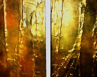 Gold Drip Acrylic Textured Painting on Streched Canvas
