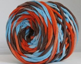 T Shirt Yarn, Hand Dyed, Southwest-Red Orange, Aqua, Dark Brown, 60 Yards, T-Shirt Yarn, Tshirt Yarn, Brown yarn, Aqua Yarn, Orange Yarn