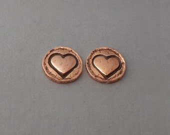 Hand forged copper earrings, circle earring, heart earring, small post earring, simple delicate, sterling post, 7mm earrings, silversmith