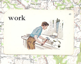 WORK/wood shop/carpentry/ Vintage Vocabulary Flashcard