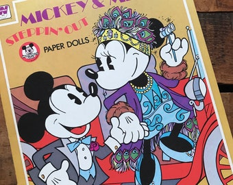 Mickey and Minnie Steppin' Out Paper Doll Book - Unused, Uncut - Vintage Paper Dolls, Children's Book, 1970s Whitman Book, Vintage Disney