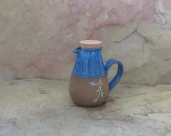 SALE - Mini Cruet Pourer - Handmade Stoneware Pottery Ceramic - Indigo Blue - Vines - 10 ounce