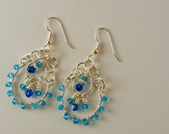 Chandelier earrings with Swarovski sterling silver crystals