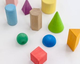 Wooden blocks | Geometric shapes | Geometric solids | Wooden shapes | Montessori | Waldorf toy | Wood toys | Homeschool| Educational toys