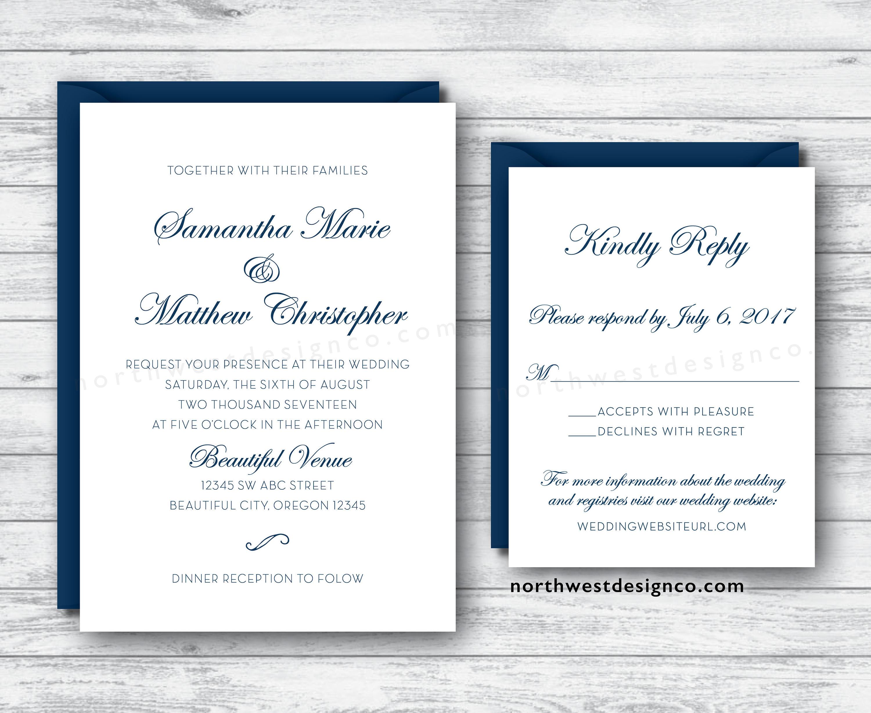 Elegant Script White & Navy Blue Wedding Invitation and Reply