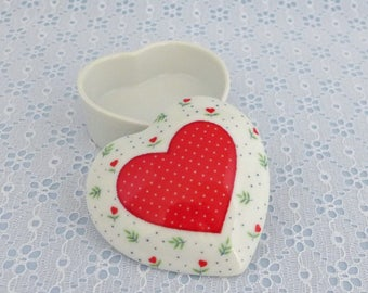 Vintage Trinket Box, Heart Shaped Box, Lidded Ring Dish, White Porcelain, Red Heart, with White Polka Dots