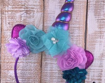 Unicorn Headband, Unicorn Floral Crown, Unicorn Birthday, Girl Birthday