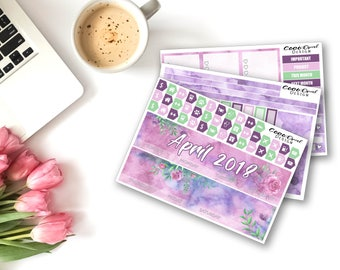 APRIL MONTHLY View Kit for the ECLP Life Planner 2018 Monthly Spread Floral Planner Kit