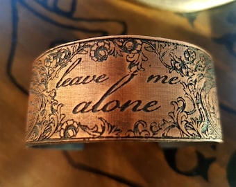 Leave Me Alone Art Nouveau Floral Word Bracelet - baroque literary librarian jewelry, women reading books