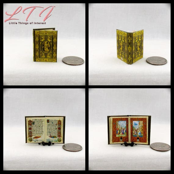 The FARNESE BOOK Of HOURS 1:6 Scale Color Illustrated Illuminated Miniature Book Barbie Scale Latin Italian Renaissance Medieval Bible