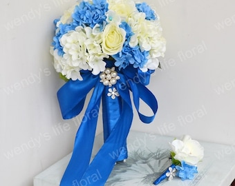 Wedding Bouquet Artificial Bouquet Wedding Flowers Real Touch Flowers white blue