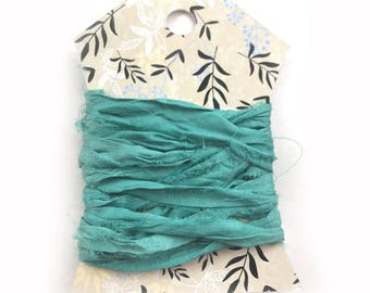Silk Sari Ribbon, Turquoise Sari Ribbon, Reclaimed Silk Ribbon, Jewelry Ribbon, Craft Ribbon, Sari Ribbon, 2 Yards, Turquoise