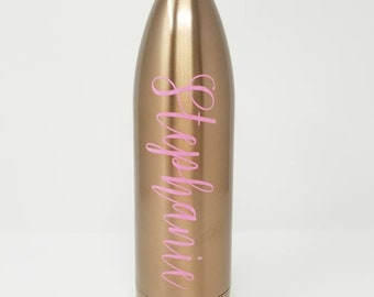 Personalized 25oz MIRA, Double Walled, Vacuum Insulated, Stainless Steel Bottle, Charlotte Font, Name, Monogram, Custom, Rose Gold, Teal