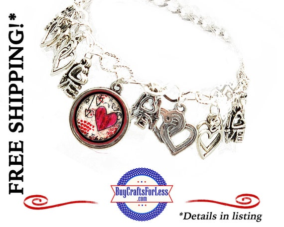 Heart CHARM BRACELET, 19 charms, Silver Alloy- Best Seller +FREE SHiPPiNG & Discounts*