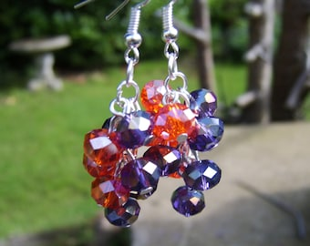 Mauve And Orange Crystal Cluster Earrings . Cluster Earrings . Beaded Earrings . Drop Earrings . Glass Beaded Earrings . Dangle Earrings .