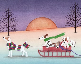 12 Christmas cards: Jack Russell Terrier (JRT / Parson) family goes for sled ride / Lynch folk art