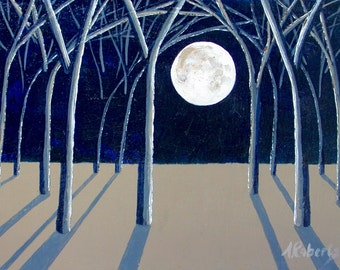 Night Sky Painting, Fine Art Painting, Small Format Art, Moonlight, Moon Painting