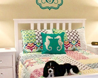 Single Vine Letter Monogram in Frame Girls Nursery Bedroom Teen Personalized Custom Housewares Vinyl Wall Decal