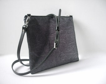 Black CrossBody Bag, CrossBody Purse in Black Metallic Linen