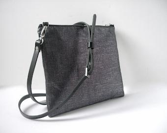 Black CrossBody Bag, CrossBody Purse in Black Metallic Linen