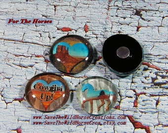 "Love Horses?  Then you'll love these Refrigerator Magnets. Set of 4, 10, or 15. ""FOR THE HORSES.""  Extra Strong, Glass Dome, Western Decor."
