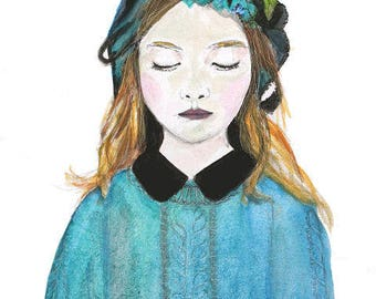 Watercolor print • pensive girl giclee print on natural cotton paper