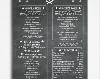 Chalkboard style catering or restaurant menu template, the whole hog!  Customizing available.