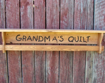 Quilt rack with shelf personalize