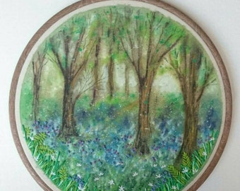 Bluebell Dreams - Hand Painted & Stitched Embroidery Hoop Artwork