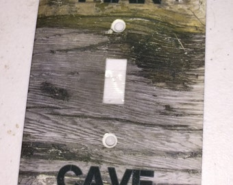 Beautiful MAN CAVE Metal larger light switch plate cover screws included New
