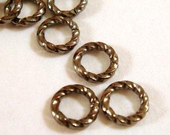 50 - 6mm Gunmetal Jump Rings Twisted Brass Fancy Open 16 gauge Brass 6mm Outside - 50 pc - 5212