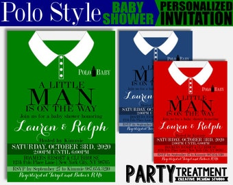Polo Style Baby Shower Invitation Shirt, A little Man is On the Way invitation, - Design #153