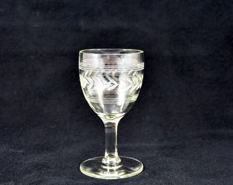 Vintage Etched Cordial Glass, Art Deco Cordial Glass