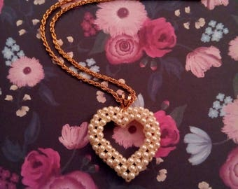 White Pearl Heart Necklace,  Heart Pendant, Beaded Necklace,  Accessories, Fashion Jewelry, Boutique