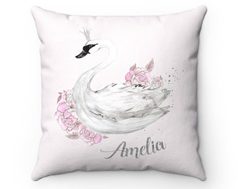 Swan Throw Pillow, Swan Pillow, Swan Decorative Pillow, Swan Pillow Cover, Swan Home Decor, Swan Cushion, Swan Nursery Decor, Personalized
