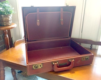 Vintage Red Hard Shell Briefcase Suitcase, Tulane Luggage of New York, Snap Latch, Filing Organizers, Lawyer Business