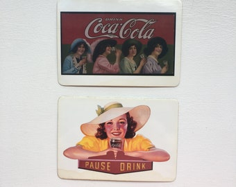 Vintage Coca-Cola Postcard Fridge Magnets - SET OF 2