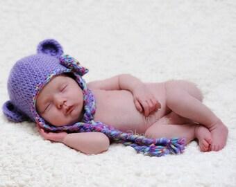 Crochet Monkey Ear Flap Beanie with Braids You Choose Color