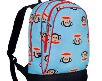 Personalized monkey backpack book bag monogrammed embroidered school