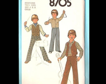 1978 Simplicity Child's and Boy's Pants, Shirt and Lined Vest Pattern 8705 - Vintage Sewing Pattern - CUT - Children Boy's Size 4 & 6 - DIY