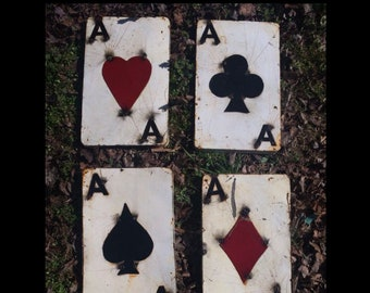 """Recycled Metal 3D Art Aces - 4 Aces Card Set - 12""""H Ace of Hearts, Club, Diamond and Spades Card Set - Porker 4 of A Kind Wall Decor Signs"""